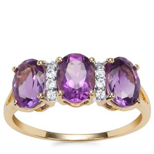 Moroccan Amethyst Ring with White Zircon in 10k Gold 2.25cts