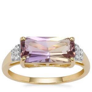 Anahi Ametrine Ring with White Zircon in 9K Gold 2.30cts