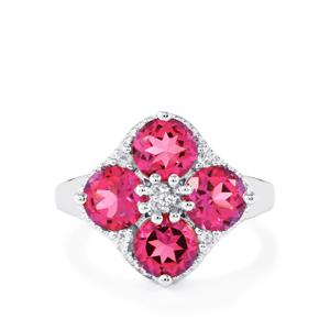 4ct Mystic Pink & White Topaz Sterling Silver Ring