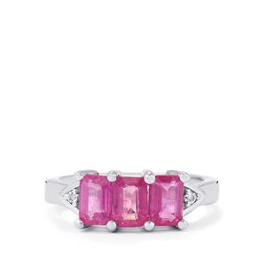 Ilakaka Hot Pink Sapphire Ring with White Topaz in Sterling Silver 2.60cts (F)