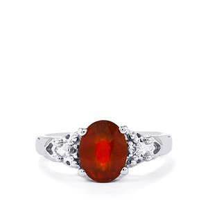 Hessonite Garnet Ring with White Topaz in Sterling Silver 2.25cts