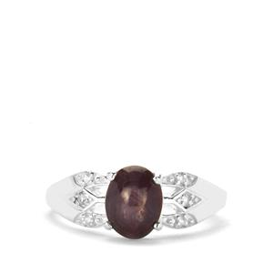 Bharat Star Ruby Ring with White Zircon in Sterling Silver 2.70cts