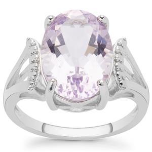 5.25ct Rose De France Amethyst Sterling Silver Ring