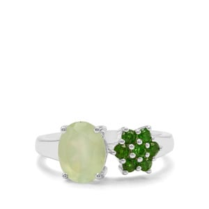 Prehnite & Chrome Diopside Sterling Silver Ring ATGW 2.35cts