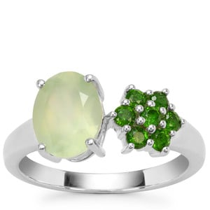 Prehnite Ring with Chrome Diopside in Sterling Silver 2.35cts