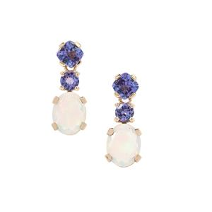 Kelayi Opal Earrings with AA Tanzanite in 9K Gold 3.75cts