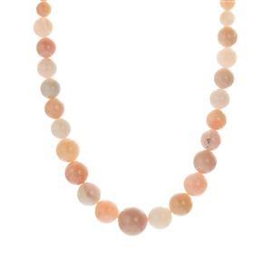 Peruvian Pink Opal Graduated Necklace in Sterling Silver 128.70cts