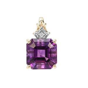 Asscher Cut Moroccan Amethyst Pendant with Diamond in 9K Gold 2.54cts