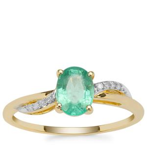 Ethiopian Emerald Ring with Diamond in 9K Gold 0.76ct