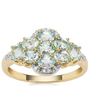 Aquaiba™ Beryl Ring with Diamond in 9K Gold 1.37cts