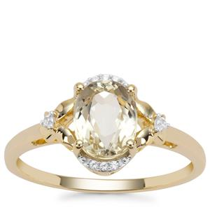 Minas Novas Hiddenite Ring with White Zircon in 9K Gold 1.65cts