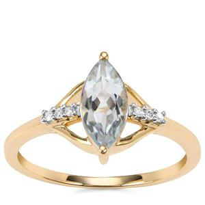 Pedra Azul Aquamarine Ring with Diamond in 9K Gold 0.89cts