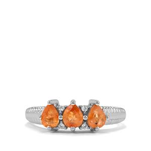 Mandarin Garnet Ring with White Topaz in Sterling Silver 1.31cts