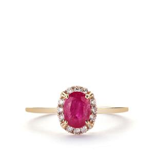 Montepuez Ruby Ring with White Zircon in 9K Gold 1.22cts
