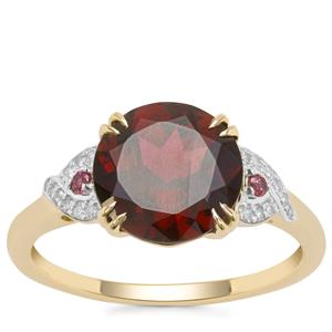 Tocantin Garnet, Rajasthan Garnet Ring with Diamond in 9K Gold 3.95cts