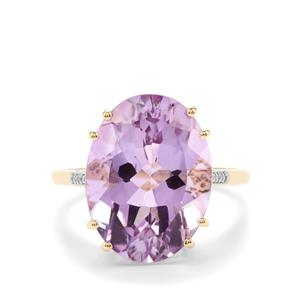 Rose De France Amethyst Ring with Diamond in 9K Gold 8.36cts