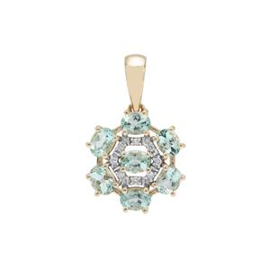 Aquaiba™ Beryl Pendant with Diamond in 9K Gold 1.13cts
