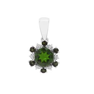Chrome Diopside, Green Tourmaline & White Zircon Sterling Silver Pendant ATGW 1.31cts