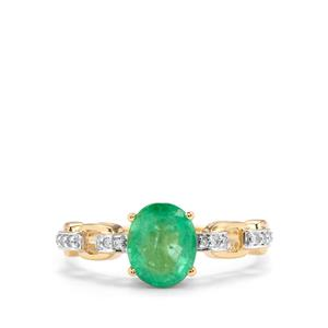Zambian Emerald Ring with Diamond in 14K Gold 1.57cts