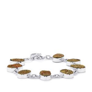 Spectropyrite Drusy Bracelet in Sterling Silver 44cts