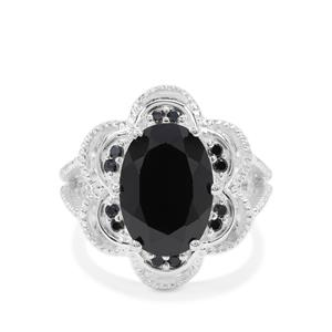 Black Spinel Ring in Sterling Silver 7.70cts