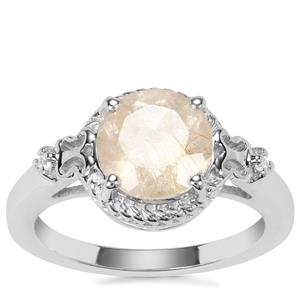 Bahia Rutilite Ring with White Zircon in Sterling Silver 2.28cts
