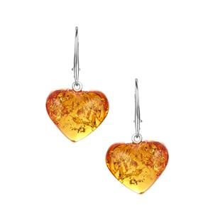Baltic Cognac Amber Earrings  in Sterling Silver (16x18mm)