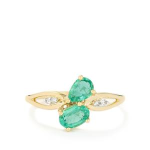 Zambian Emerald Ring with Diamond in 10k Gold 0.75ct