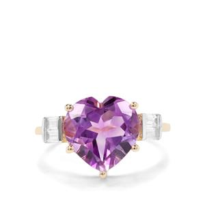 Moroccan Amethyst & White Zircon 9K Gold Heart Ring ATGW 4.26cts