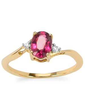 Malawi Garnet Ring with White Zircon in 10K Gold 1.25cts