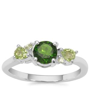 Chrome Diopside, Ring with Peridot in Sterling Silver 1.09cts