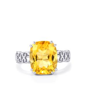 5.50ct Diamantina Citrine Sterling Silver Ring
