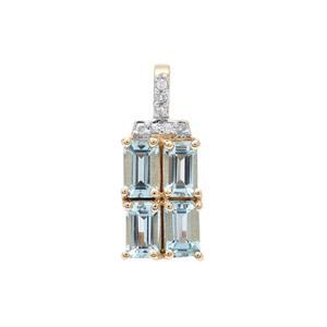 Santa Maria Aquamarine & Diamond 9K Gold Pendant ATGW 1.05cts