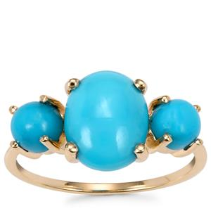 Sleeping Beauty Turquoise Ring in 9K Gold 3.17cts