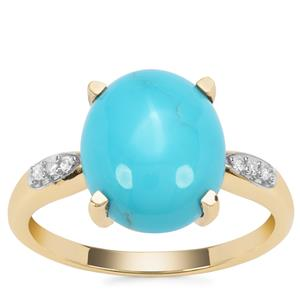 Sleeping Beauty Turquoise Ring with Diamond in 9K Gold 3.82cts