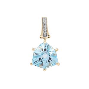 Alpine Cut Sky Blue Topaz Pendant with Diamond in 9K Gold 5.55cts