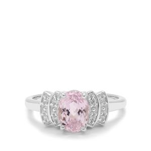 Brazilian Kunzite Ring with White Zircon in Sterling Silver 1.88cts