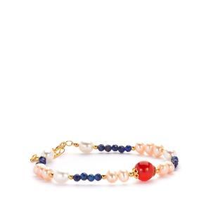 Kaori Cultured Pearl, Red Agate & Sar-i-Sang Lapis Lazuli Gold Tone Sterling Silver Bracelet