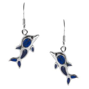 2.50ct Sar-i-Sang Lapis Lazuli Sterling Silver Dolphin Earrings