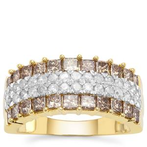 Champagne Diamond Ring with White Diamond in 9K Gold 1.97cts