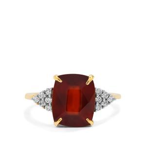 Gooseberry Grossular Garnet Ring with White Zircon in 9K Gold 5cts