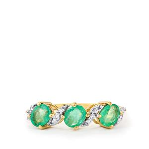 Zambian Emerald & White Zircon 10K Gold Ring ATGW 1.00cts