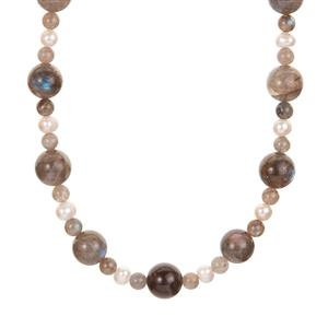 Labradorite & Kaori Cultured Pearl Sterling Silver Necklace with Magnetic Lock