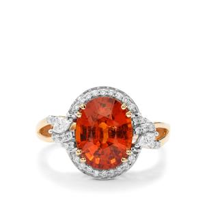 Mandarin Garnet Ring with Diamond in 18K Gold 4.59cts