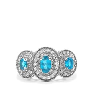 Neon Apatite Ring with White Zircon in Platinum Plated Sterling Silver 1.35cts