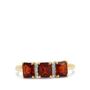 Madeira Citrine Ring with Diamond in 9K Gold 1.30cts