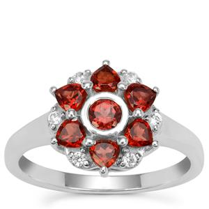 Rajasthan Garnet Ring with White Zircon in Sterling Silver 1.25cts