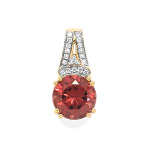 Zanzibar Zircon Pendant with Diamond in 18k Gold 3.42cts