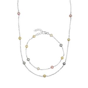 Kaori Cultured Pearl Set Of Necklace and Bracelet in Sterling Silver