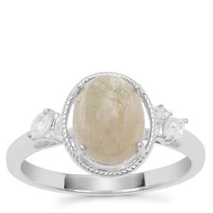 Menderes Diaspore Ring with White Zircon in Sterling Silver 2.38cts
